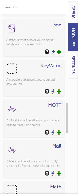 The modules tab