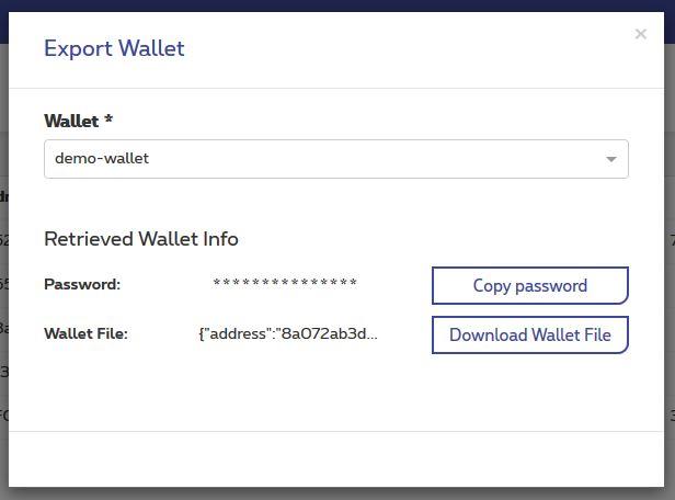 Export wallet