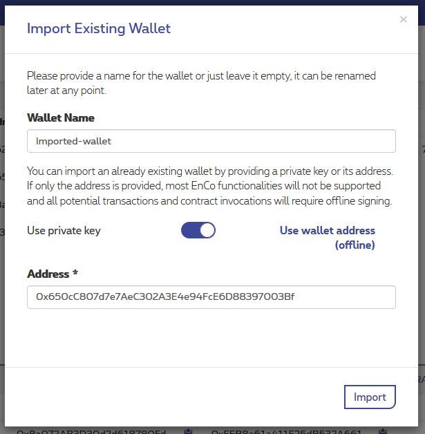 Import a wallet with its address