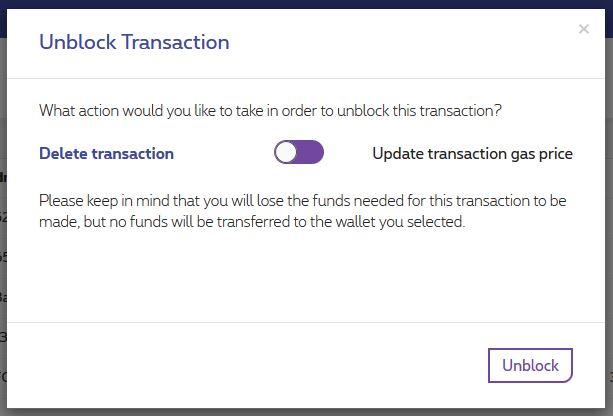 Unblock pending transactions