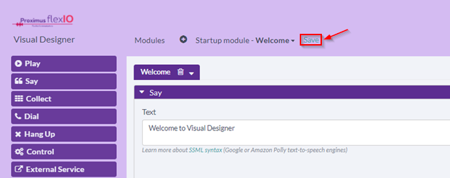 Saving the Visual Designer application on Proximus FlexIO